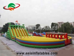 Opblaasbare racegame Long Inflatable Obstacle Challenge Games In Jungle Palm Tree Theme